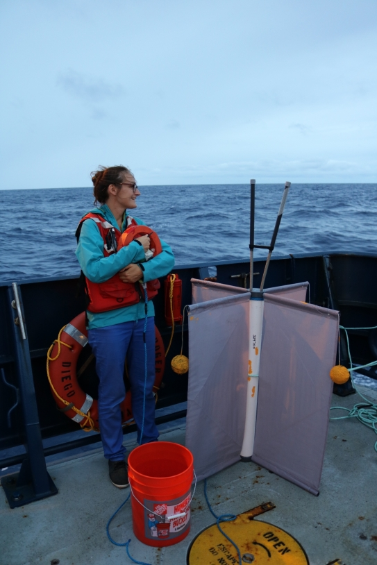 Préparation du déploiement du flotteur SUPRACT attaché à une bouée dérivante (CODE) par Audrey Hasson lors de la campagne en mer